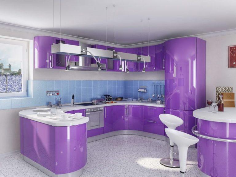 Фото кухни дизайн в фиолетовом цвете