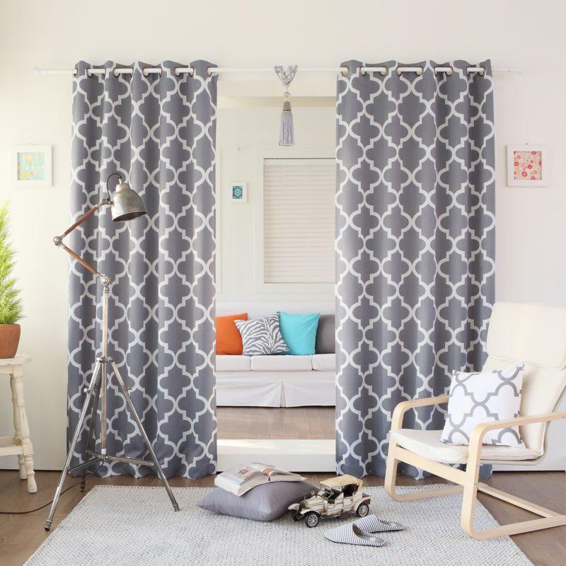 Gray room darkening curtains