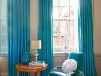 Бирюзовые шторы в интерьере — 90 фото стильного оформления